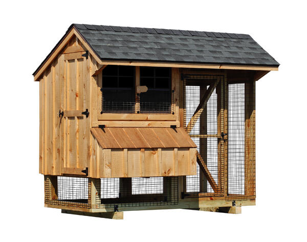 """Blog_4x8 Combination With board and batten siding 4 x 4 run area 4 x 4 chicken coop area 94"""" high 4 nesting boxes Natural stain Charcoal shingles"""