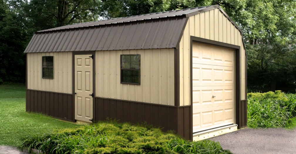 Motorcycle storage in a shed with overhead garage door