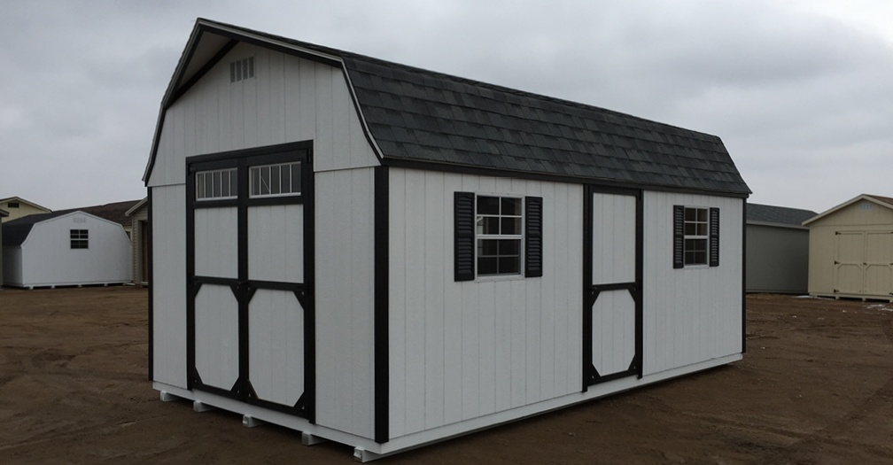 This High Barn style storage shed has a contrasting color package