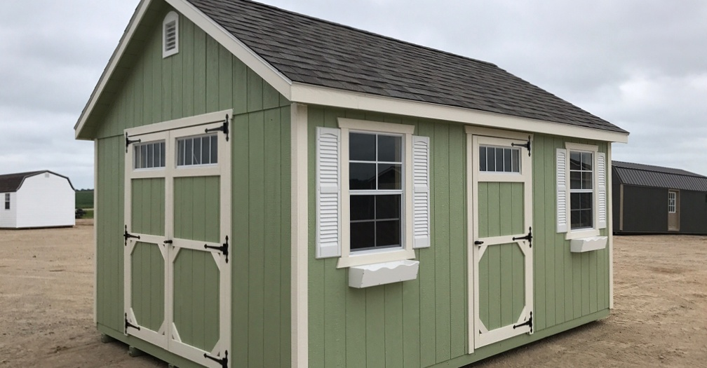 Window shutters and flower boxes make any shed look great