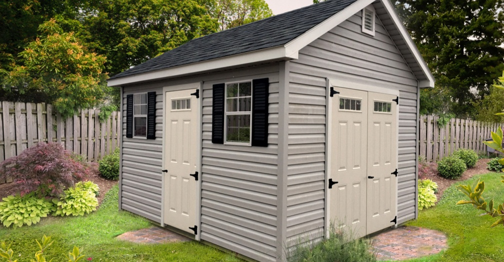 Deluxe garden shed with vinyl siding