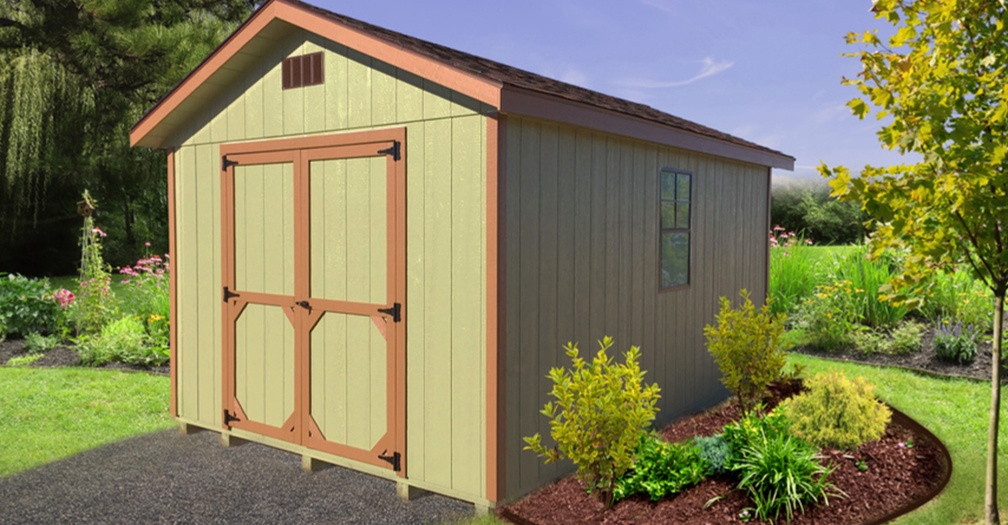 Ranch garden shed with painted siding