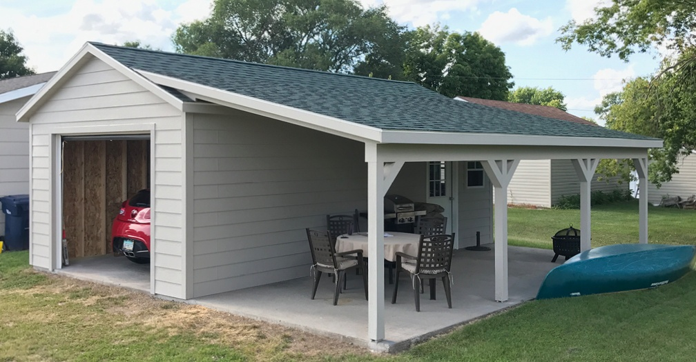 Add a roof extension to a garage for the ULTIMATE BBQ shelter and enteraining area