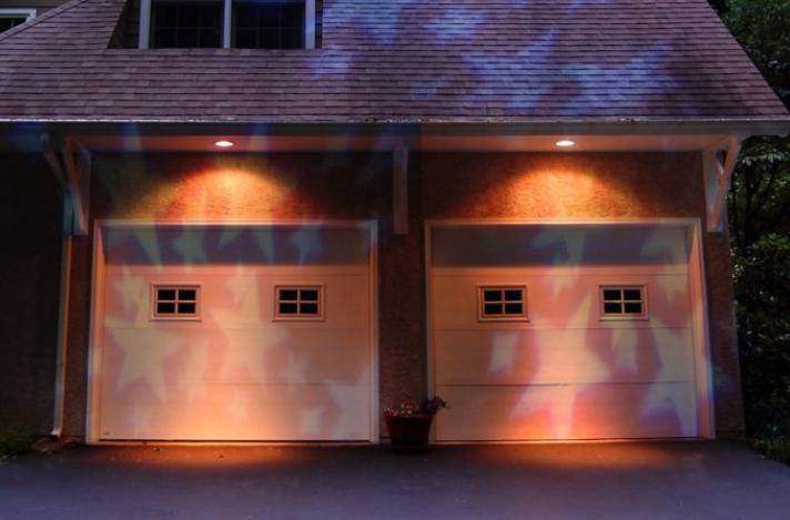 Christmas Lights Projected on Garage Doors