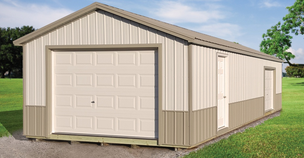 Ranch garage with metal siding
