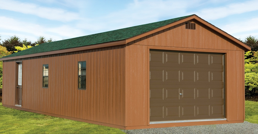 Ranch garage with painted siding