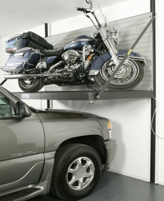 Garage motorcycle lift—idea from popularmechanics.com