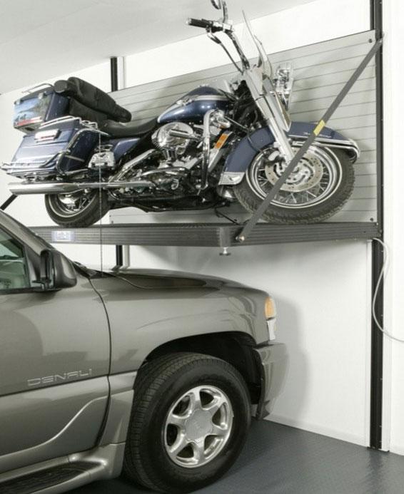Garage motorcycle lift—idea from popularmechanics.com