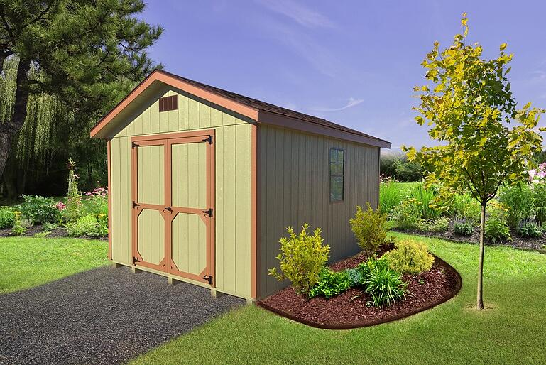 Shed landscaping idea: mulch with a few shrubs