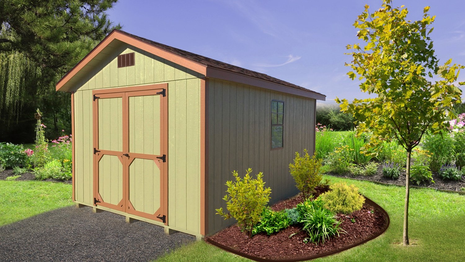 Pre-built Storage Building - Green & Brown