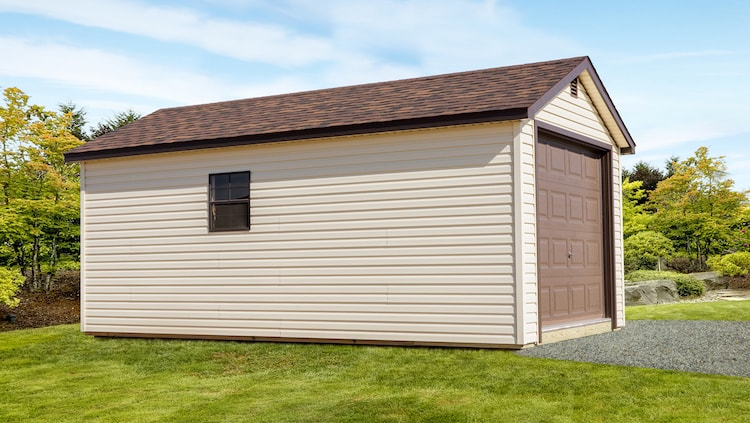 On-Site Built Garage Package - Single Stall Ranch - Tan & Brown