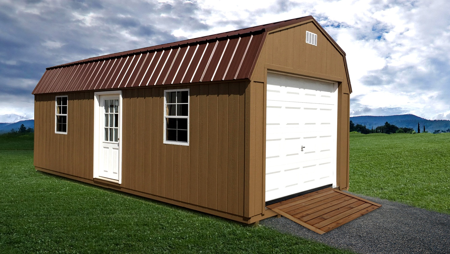 Pre-Built Garages - Single Stall High Barn w/ Metal Roof