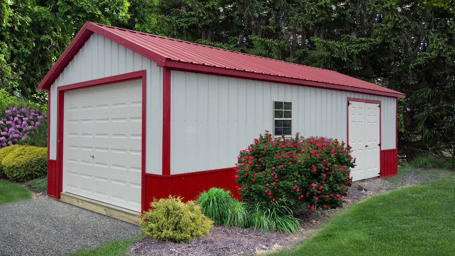 Pre-built Garage - Single Stall Ranch - Red & White