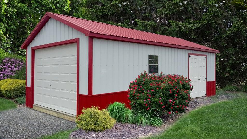 pre built garage ranch red white - Pre Built Garage