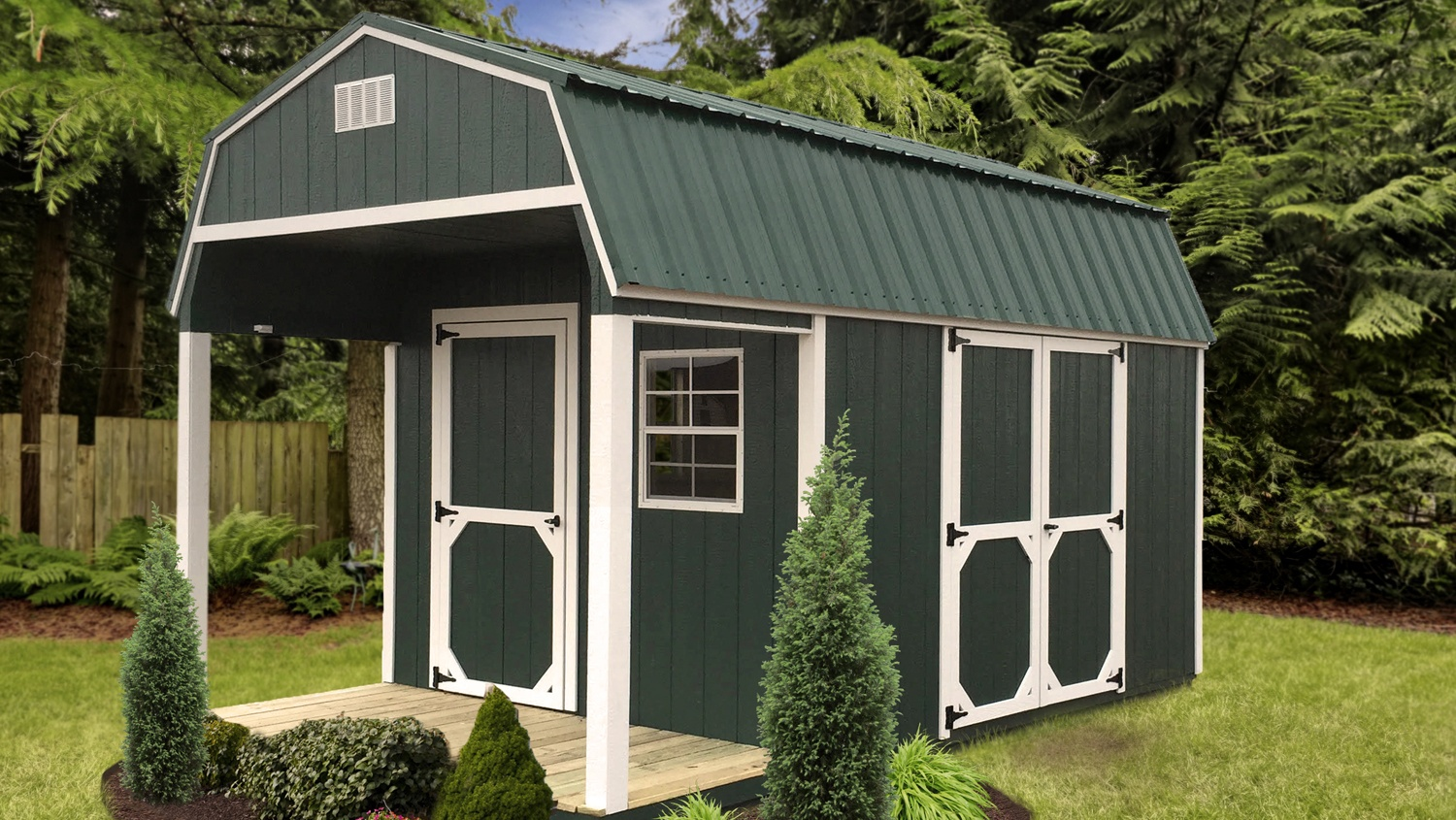 Pre-built Storage Shed - High Barn Porch - Green & White