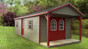 Pre-built Storage Building - Ranch with Porch - Green & Red