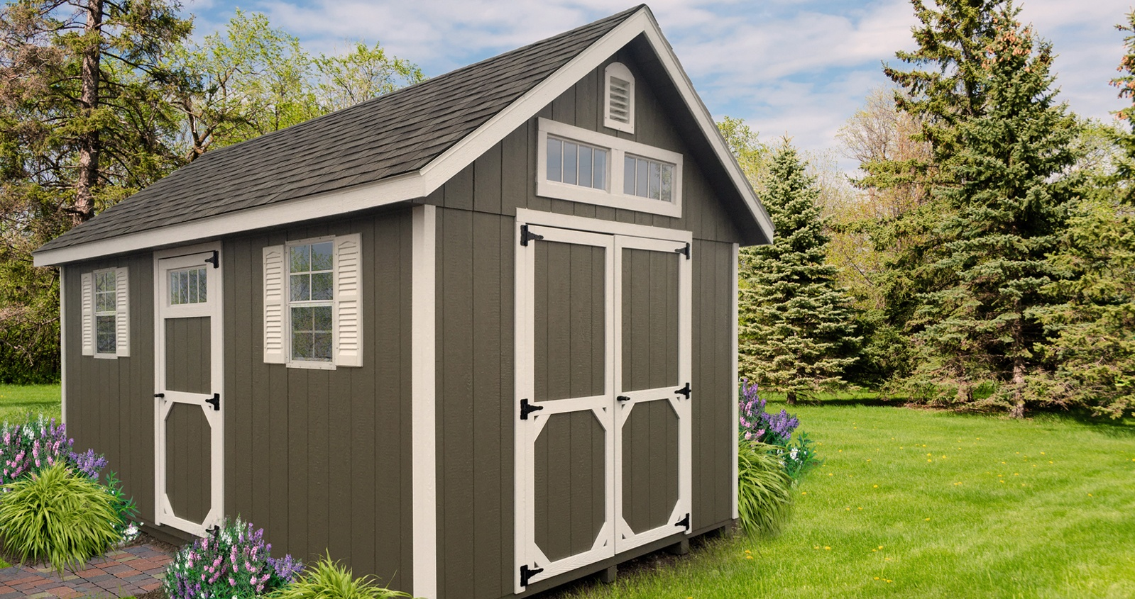Deluxe Painted Storage Building - Grey Green