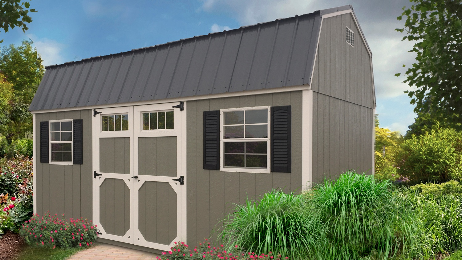 Pre-built Storage Shed - High Barn - Grey & White