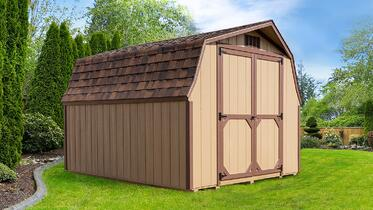 Pre-built Low Barn Storage Building - Wood Siding