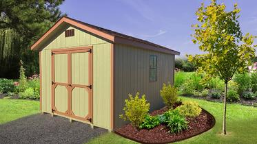 Pre-built Storage Building - Ranch - Green & Brown
