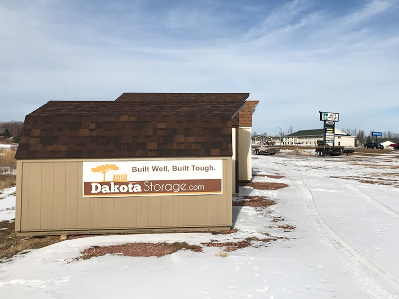 Our Dakota Storage shed lot in Dell Rapids has a variety of our products on display