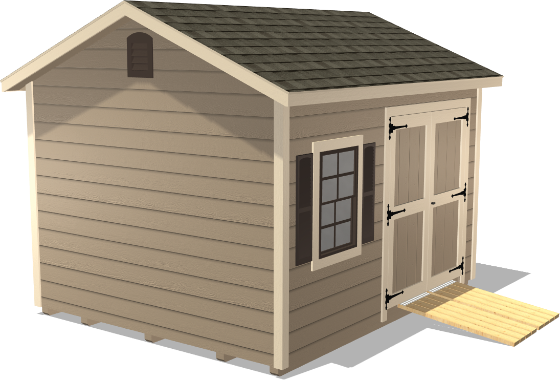 Our Ranch Gable offers a ramp for wheeling your potting supplies in and out and windows on the shed to allow light in
