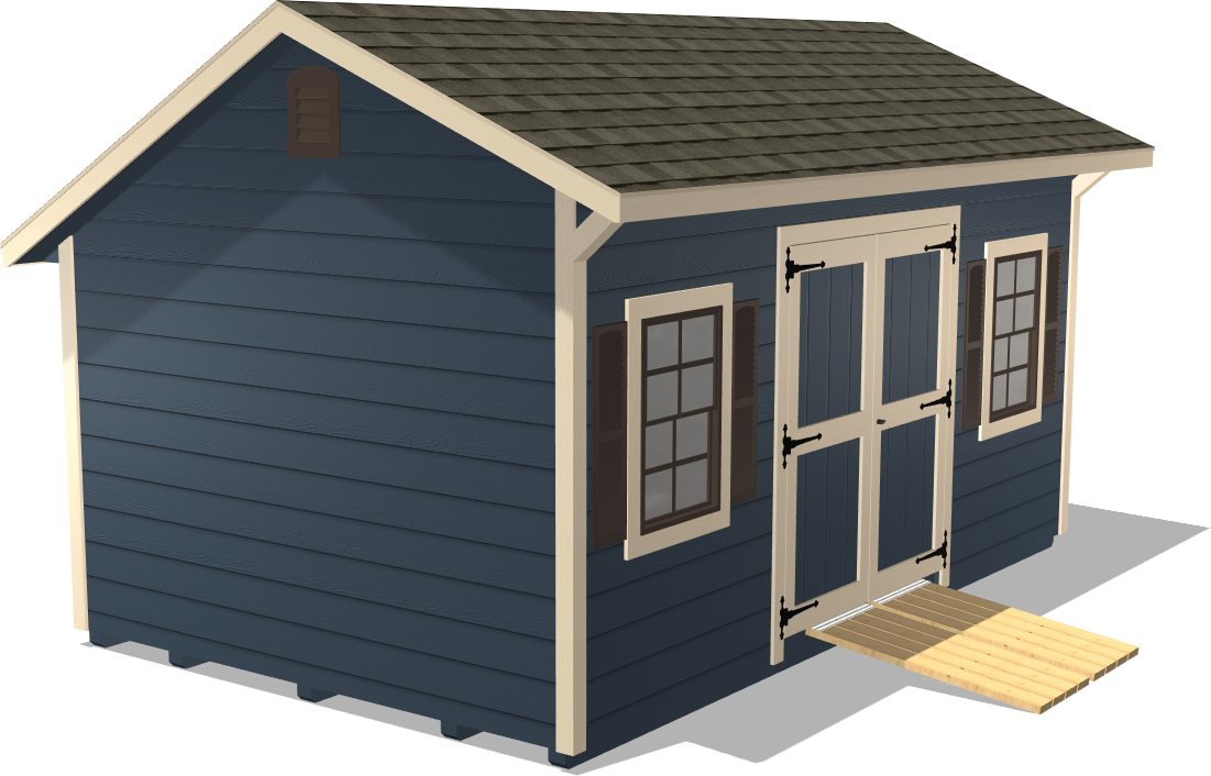 Our Quaker Gable features two wide doors to get all your gardening supplies and equipment in and out with ease