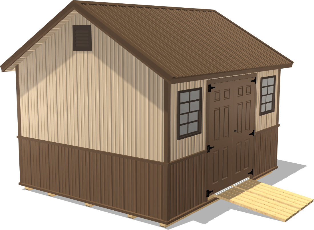 Our Classic Gable has steel siding and makes a handsome shed workshop for your woodworking projects