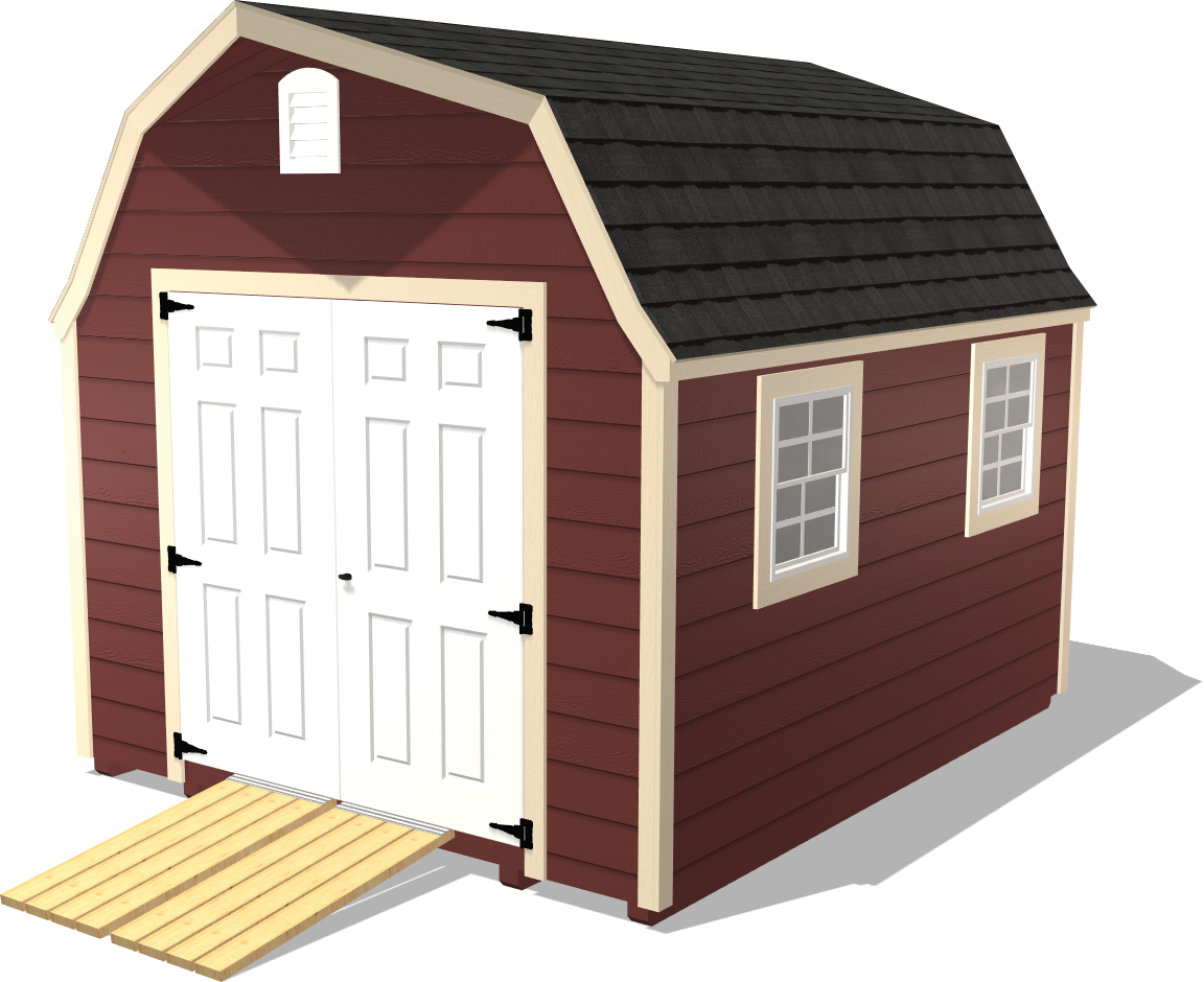 Our High Barn is a tall shed with plenty of room for woodworking projects