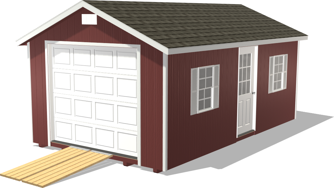 Our Ranch Gable features a ramp to make it easy to load farming equipment into the shed