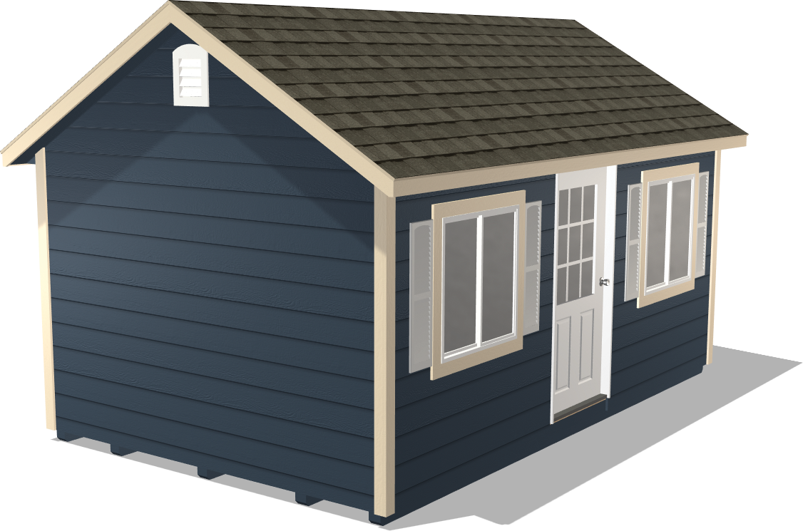 Our Classic Gable package has lap siding and would look great next to your current office space