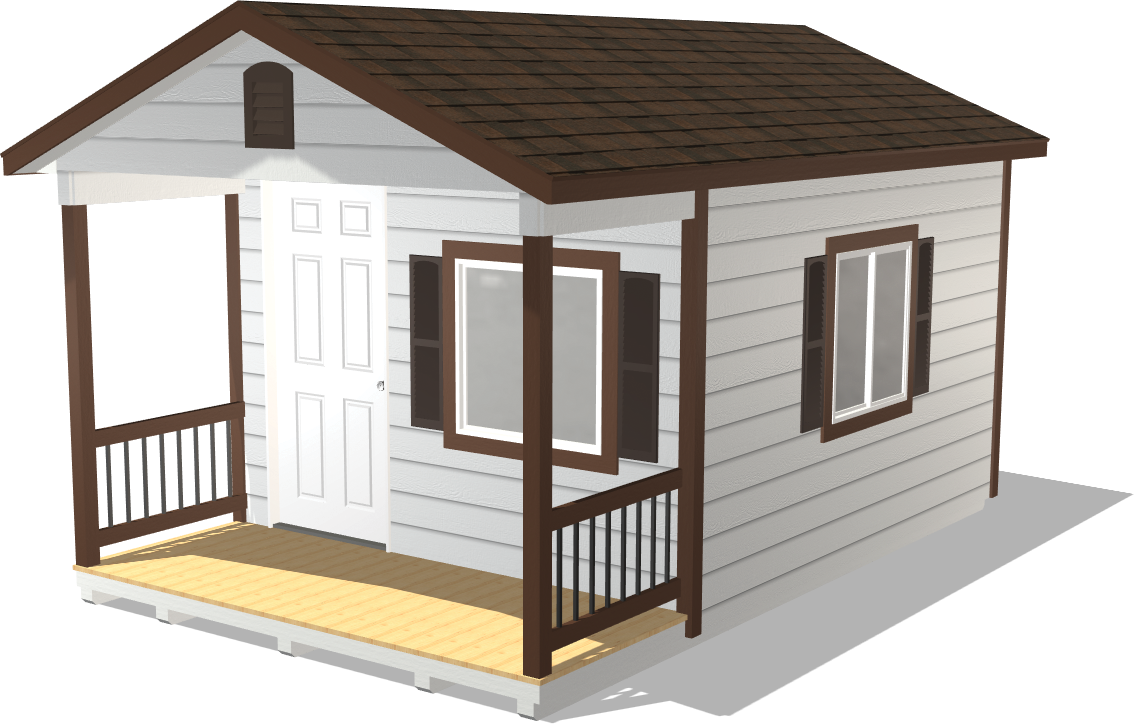 Our Dakota Storage Ranch Gable package features a porch with wood lap siding