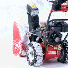 This outside storage shed is perfect for storing outdoor items like your snow blower or lawn mower