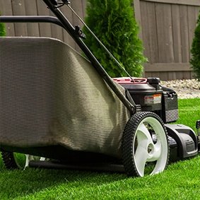 A garden hut is nice, but also use our garden shed to store your lawn care equipment and tools like your mower